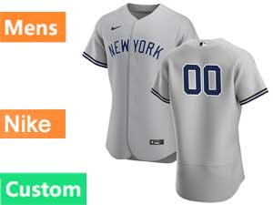 Mens Mlb New York Yankees White Custom Made Nike 2020 Gray Road Flex Base Jersey
