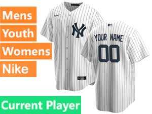 Mens Womens Youth Mlb New York Yankees White Stripe Current Player Cool Base Nike 2020 Home Jersey
