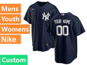 Mens Womens Youth Mlb New York Yankees Custom Made Cool Base Nike 2020 Blue Alternate Jersey