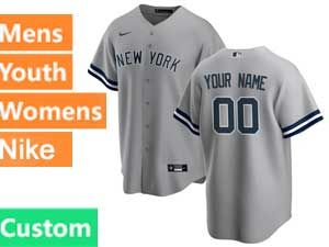 Mens Womens Youth Mlb New York Yankees Custom Made Cool Base Nike 2020 Gray Road Jersey