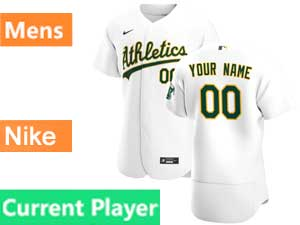 Mens Oakland Athletics Current Player Nike 2020 White Home Flex Base Jersey