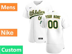 Mens Mlb Oakland Athletics Custom Made Flex Base Nike 2020 White Home Jersey