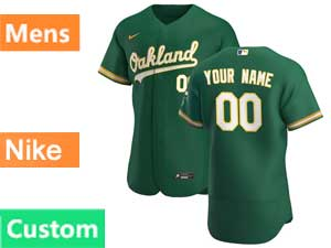 Mens Mlb Oakland Athletics Green Custom Made Flex Base Nike 2020 Green Alternate Jersey