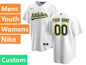 Mens Womens Youth Mlb Oakland Athletics Custom Made Nike 2020 White Home Cool Base Jersey
