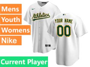 Mens Womens Youth Oakland Athletics Current Player Nike 2020 White Home Cool Base Jersey