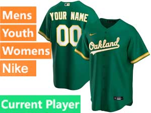 Mens Womens Youth Oakland Athletics Current Player Nike 2020 Green Alternate Cool Base Jersey