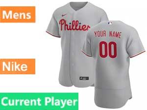 Mens Philadelphia Phillies Current Player Flex Base Nike 2020 Gray Road Jersey