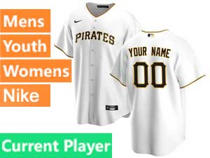 Mens Womens Youth Pittsburgh Pirates Current Player Cool Base 2020 Nike White Home Jersey