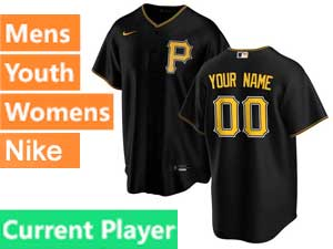 Mens Womens Youth Pittsburgh Pirates Current Player Big P Cool Base 2020 Nike Black Alternate Jersey