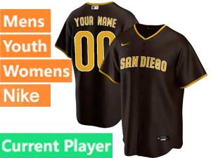 Mens Womens Youth San Diego Padres Current Player 2020 Nike Brown Road Cool Base Jersey