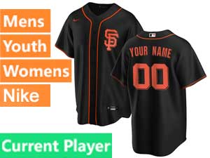 Mens Womens Youth San Francisco Giants Current Player Nike 2020 Black Alternate Cool Base Jersey