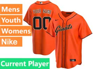 Mens Womens Youth San Francisco Giants Current Player Nike 2020 Orange Alternate Cool Base Jersey
