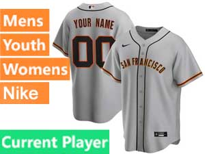 Mens Womens Youth San Francisco Giants Current Player Nike 2020 Gray Road Cool Base Jersey