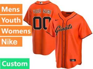 Mens Womens Youth Mlb San Francisco Giants Custom Made Nike 2020 Orange Alternate Cool Base Jersey