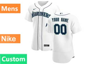 Mens Seattle Mariners Custom Made Nike 2020 Home White Flex Base Jersey