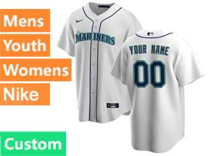 Mens Womens Youth Mlb Seattle Mariners Custom Made Nike 2020 White Home Cool Base Jersey