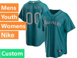 Mens Womens Youth Mlb Seattle Mariners Custom Made Nike 2020 Green Alternate Cool Base Jersey
