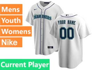 Mens Womens Youth Seattle Mariners Current Player Nike 2020 White Home Cool Base Jersey