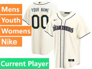 Mens Womens Youth Seattle Mariners Current Player Nike 2020 Cream Alternate Cool Base Jersey