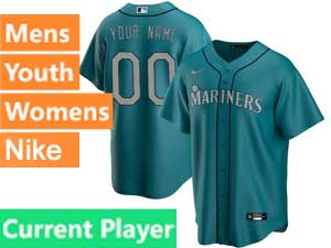 Mens Womens Youth Seattle Mariners Current Player Nike 2020 Green Alternate Cool Base Jersey
