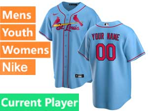 Mens Womens Youth St. Louis Cardinals Current Player Nike 2020 Blue Alternate Cool Base Jersey