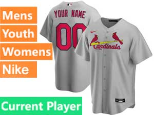 Mens Womens Youth St. Louis Cardinals Current Player Nike 2020 Gray Road Cool Base Jersey
