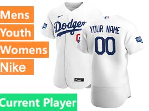 Mens Womens Youth Mlb Los Angeles Dodgers Current Player White Nike 2020 World Series Champions Cool Base Jersey