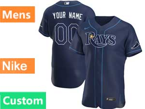 Mens Mlb Tampa Bay Rays Custom Made Nike 2020 Blue Alternate Flex Base Jersey