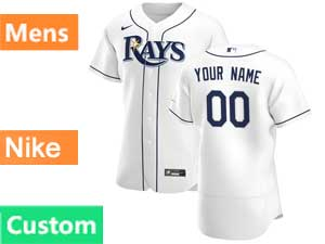 Mens Mlb Tampa Bay Rays Custom Made Nike 2020 White Home Flex Base  Jersey