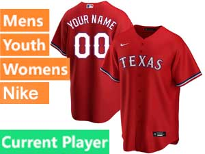 Mens Womens Youth Texas Rangers Current Player Nike 2020 Cool Base Alternate Red Jersey