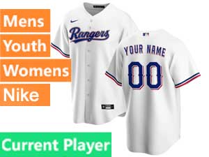 Mens Womens Youth Texas Rangers Current Player Nike 2020 Cool Base White Home Jersey