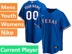 Mens Womens Youth Texas Rangers Current Player Nike 2020 Cool Base Blue Alternate Jersey
