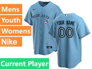 Mens Women Youth Toronto Blue Jays Current Player Nike 2020 Cool Base Light Blue Alternate Jersey