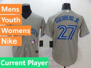 Mens Women Youth Toronto Blue Jays Current Player Nike 2020 Cool Base Gray Road Jersey