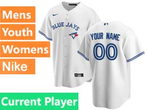 Mens Women Youth Toronto Blue Jays Current Player Nike 2020 Cool Base White Home Jersey