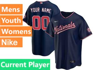 Mens Womens Youth Washington Nationals Current Player 2020 Nike Blue Alternate Cool Base Jersey