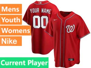 Mens Womens Youth Washington Nationals Current Player 2020 Nike Red Alternate Cool Base Jersey