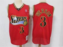 Mens Nba Philadelphia 76ers #3 Allen Iverson Red Mitchell&ness Hardwood Classics Remake Limited Jersey