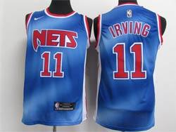 Mens Nike 2020-21 Nba Brooklyn Nets #11 Kyrie Irving Blue Transfer Gradient Classic Edition Swingman Jersey