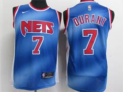 Mens Nike 2020-21 Nba Brooklyn Nets #7 Kevin Durant Blue Transfer Gradient Classic Edition Swingman Jersey