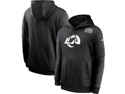 Mens Nfl Los Angeles Rams Black Crucial Catch Sideline Performance Pocket Pullover Hoodie Nike Jersey