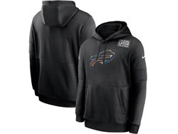 Mens Nfl Buffalo Bills Black Crucial Catch Sideline Performance Pocket Pullover Hoodie Nike Jersey