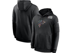Mens Nfl Atlanta Falcons Black Crucial Catch Sideline Performance Pocket Pullover Hoodie Nike Jersey