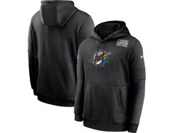 Mens Miami Dolphins Black Crucial Catch Sideline Performance Pocket Pullover Hoodie Nike Jersey