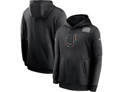 Mens Nfl Indianapolis Colts Black Crucial Catch Sideline Performance Pocket Pullover Hoodie Nike Jersey