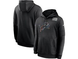 Mens Nfl Detroit Lions Black Crucial Catch Sideline Performance Pocket Pullover Hoodie Nike Jersey