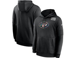 Mens Nfl New York Jets Black Crucial Catch Sideline Performance Pocket Pullover Hoodie Nike Jersey