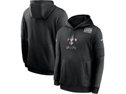 Mens Nfl New Orleans Saints Black Crucial Catch Sideline Performance Pocket Pullover Hoodie Nike Jersey