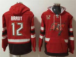Mens Nfl Tampa Bay Buccaneers #12 Tom Brady Red Pocket Pullover Hoodie Jersey