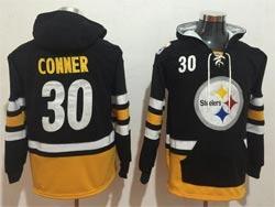 Mens Nfl Pittsburgh Steelers #30 James Conner Black Pocket Pullover Hoodie Jersey